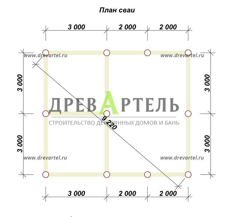 План свайного фундамента - Проект полутораэтажного дома из бруса 6х7