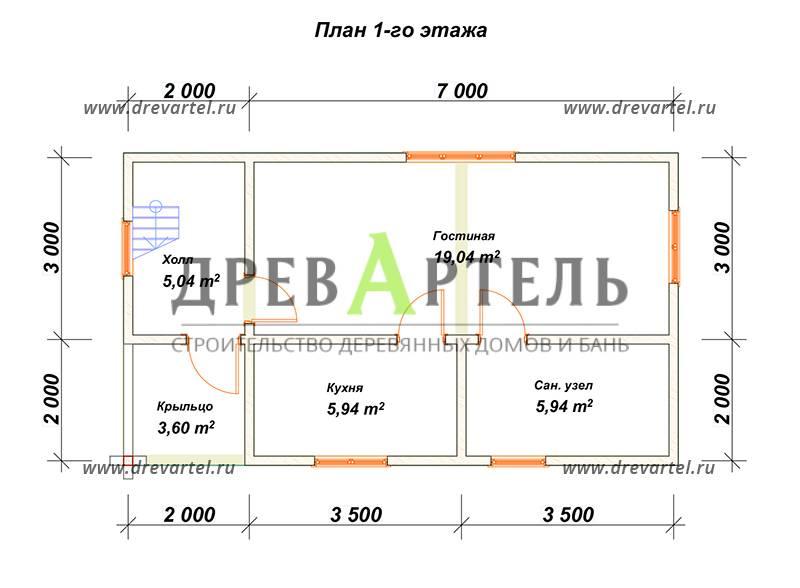 План 1-го этажа - Дом из бруса 5х9