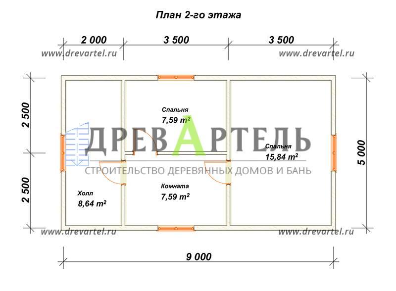 План 2-го этажа - Дом из бруса 5х9