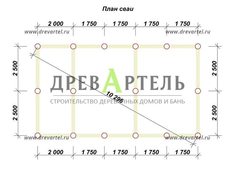 План свайного фундамента - Дом из бруса 5х9