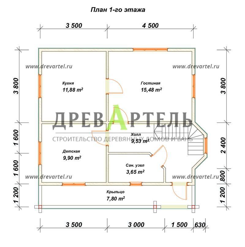 План 1-го этажа - Дом из бруса 7х8 с балконом