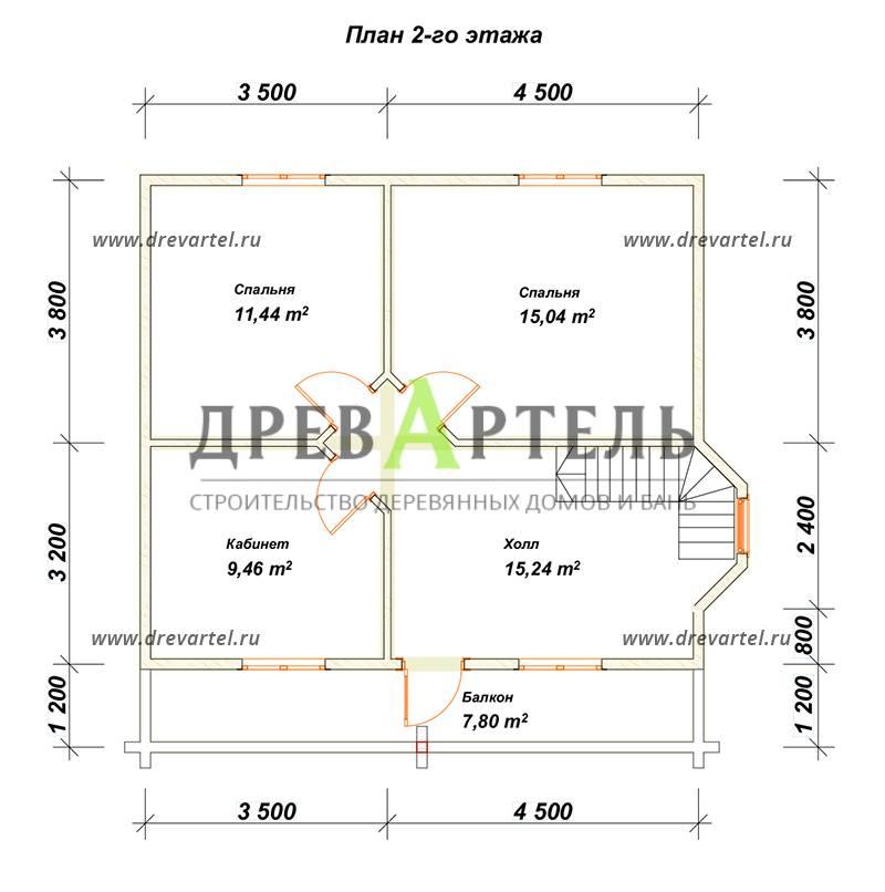 План 2-го этажа - Дом из бруса 7х8 с балконом