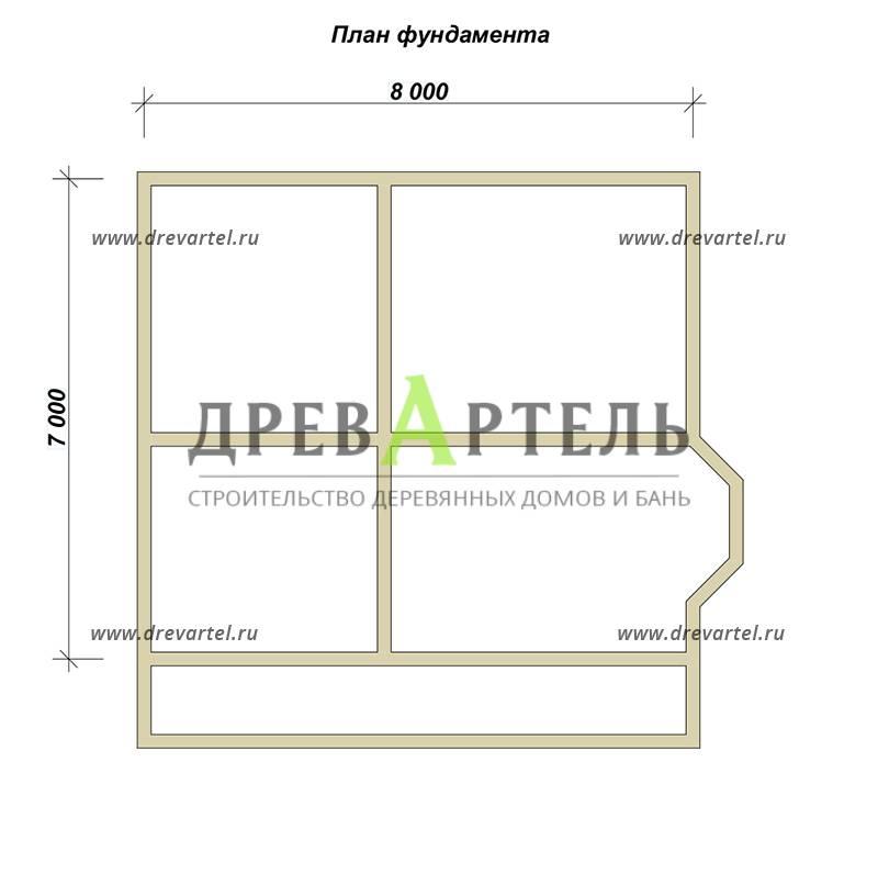 План ленточного фундамента - Дом из бруса 7х8 с балконом