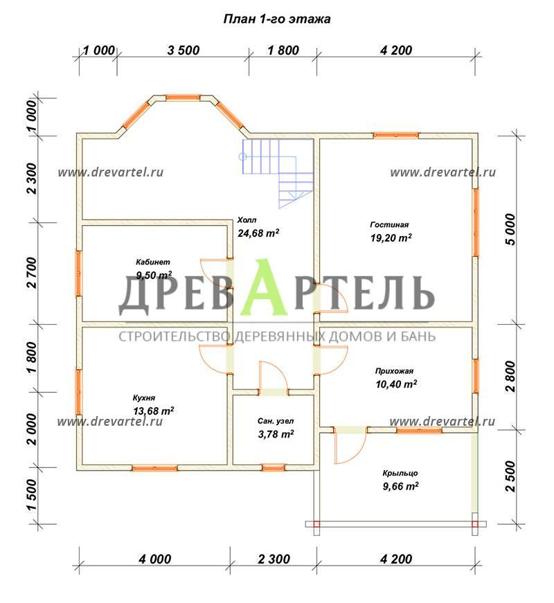 План 1-го этажа - Дом из бруса 10х11