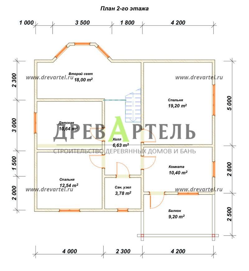План 2-го этажа - Дом из бруса 10х11