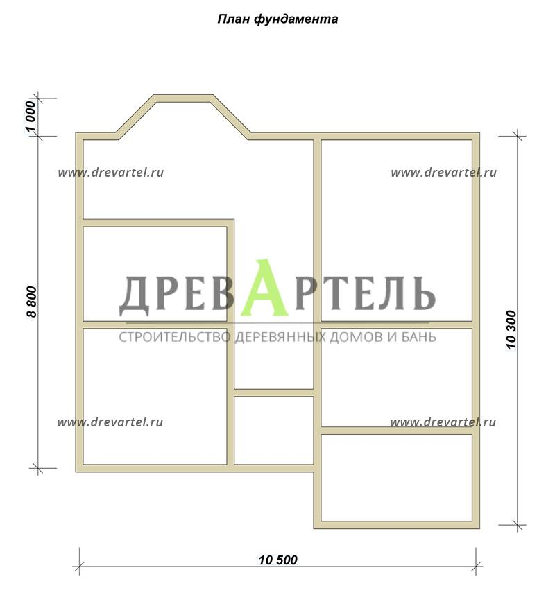 План ленточного фундамента - Дом из бруса 10х11