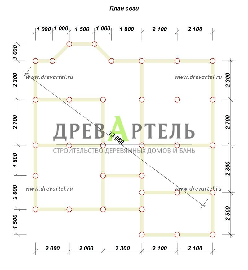 План свайного фундамента - Дом из бруса 10х11