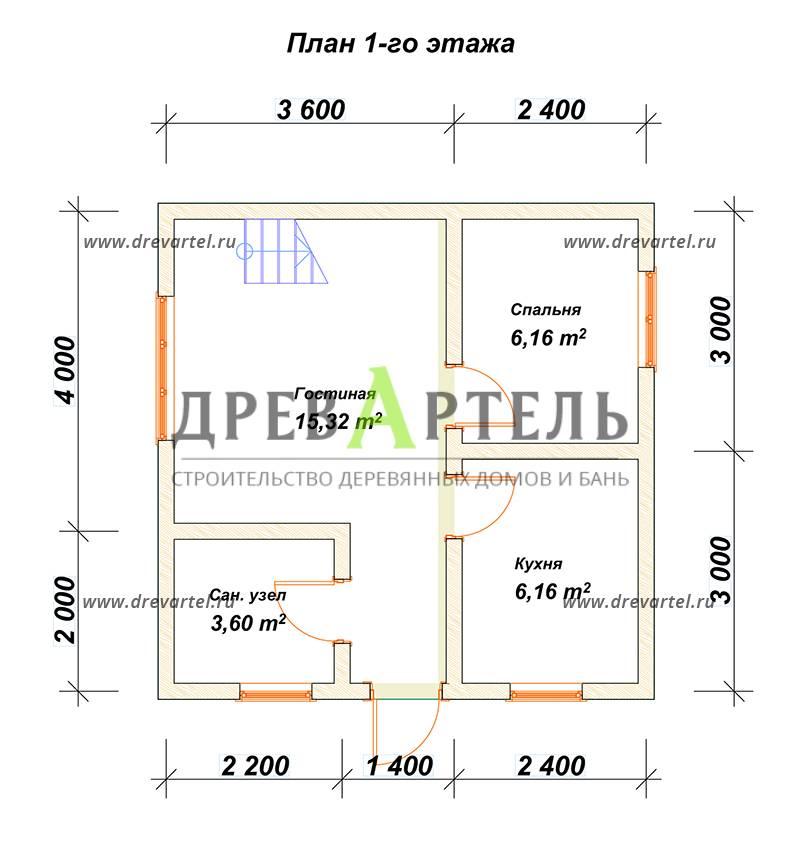 План 1-го этажа - Дом 6х6 из бруса с мансардой и балконом