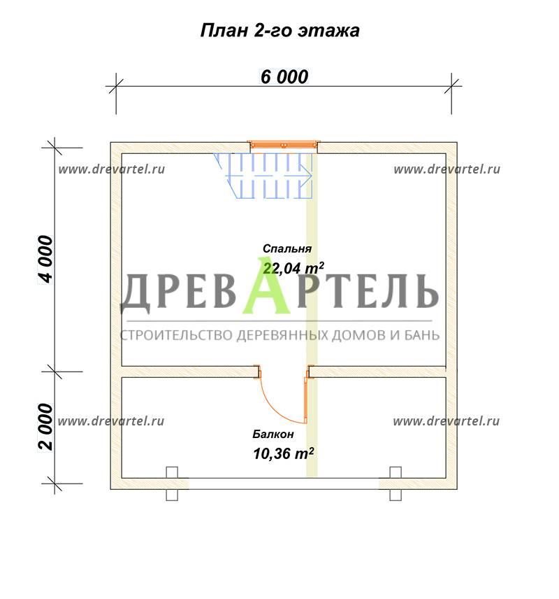 План 2-го этажа - Дом 6х6 из бруса с мансардой и балконом