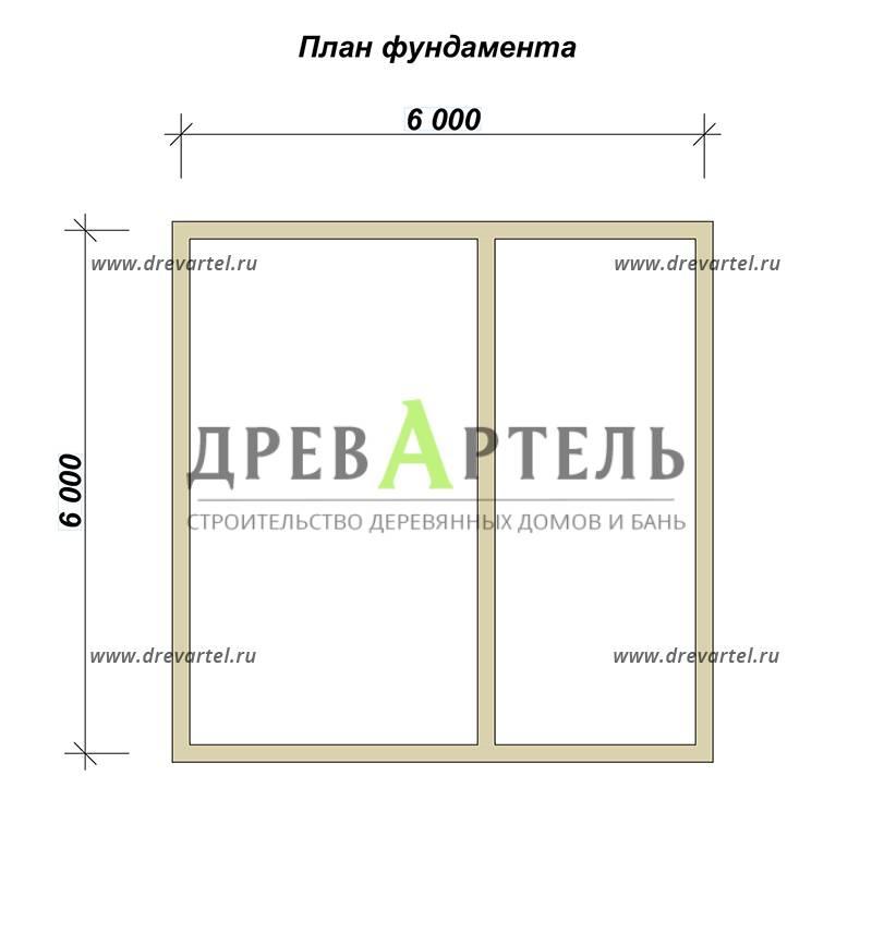 План ленточного фундамента - Дом 6х6 из бруса с мансардой и балконом