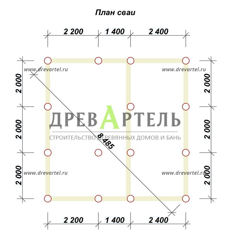 План свайного фундамента - Дом 6х6 из бруса с мансардой и балконом