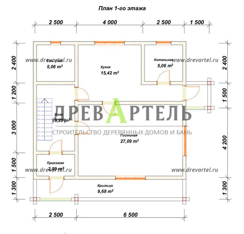 План 1-го этажа - Дом из бруса с террасой и балконом 9х9