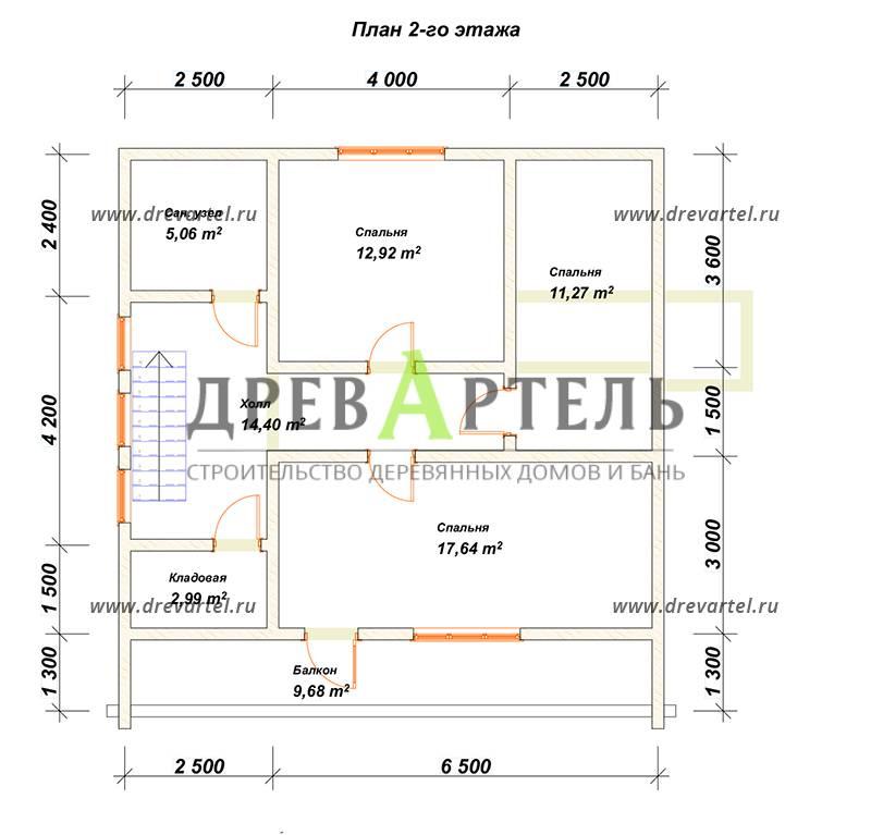 План 2-го этажа - Дом из бруса с террасой и балконом 9х9