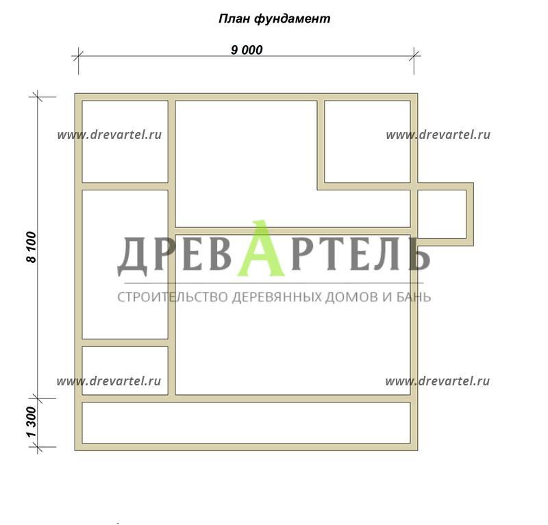 План ленточного фундамента - Дом из бруса с террасой и балконом 9х9