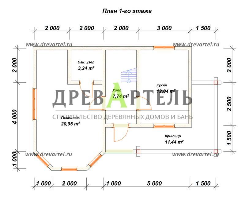 План 1-го этажа - Двухэтажный дом из бруса 7х12