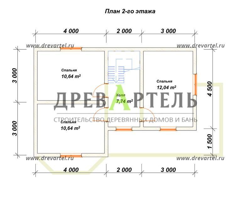 План 2-го этажа - Двухэтажный дом из бруса 7х12
