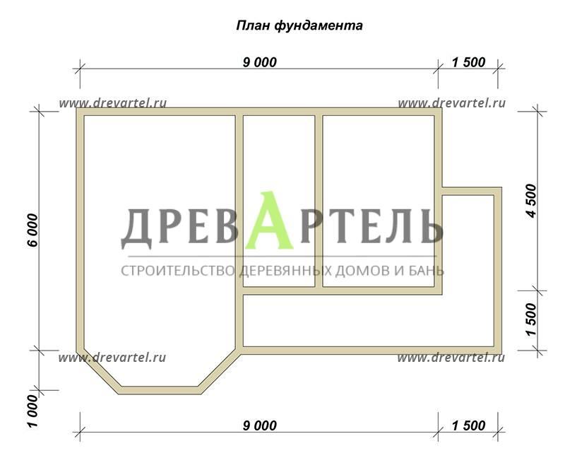 План ленточного фундамента - Двухэтажный дом из бруса 7х12