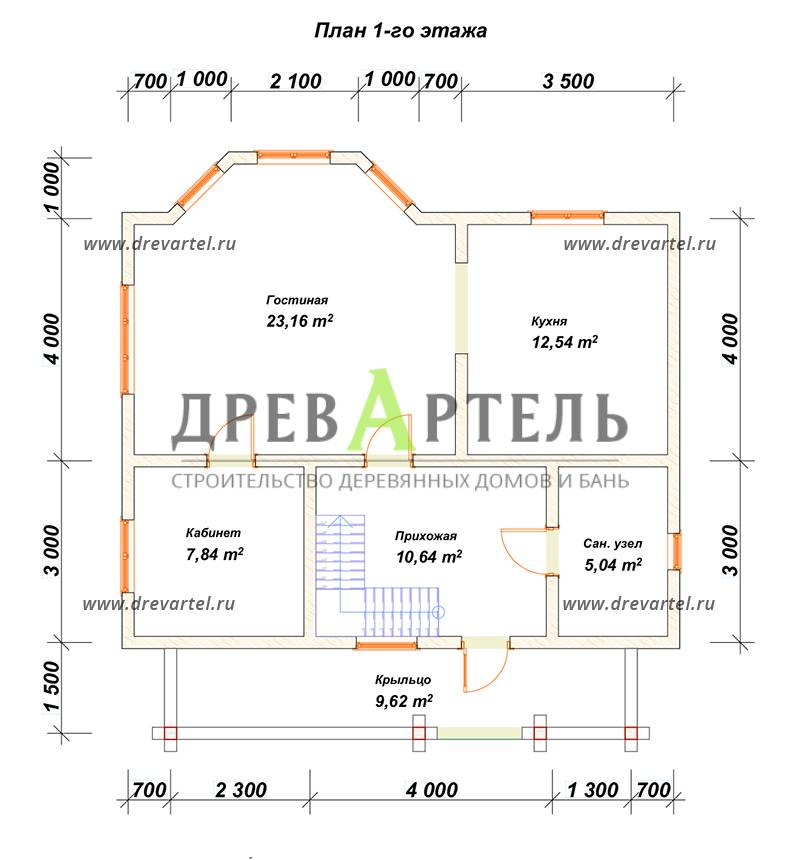 План 1-го этажа - Дом из бруса 9х9 с эркером и кукушкой