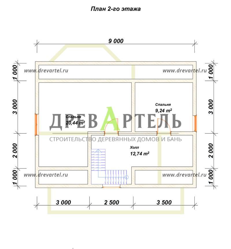 План 2-го этажа - Дом из бруса 9х9 с эркером и кукушкой