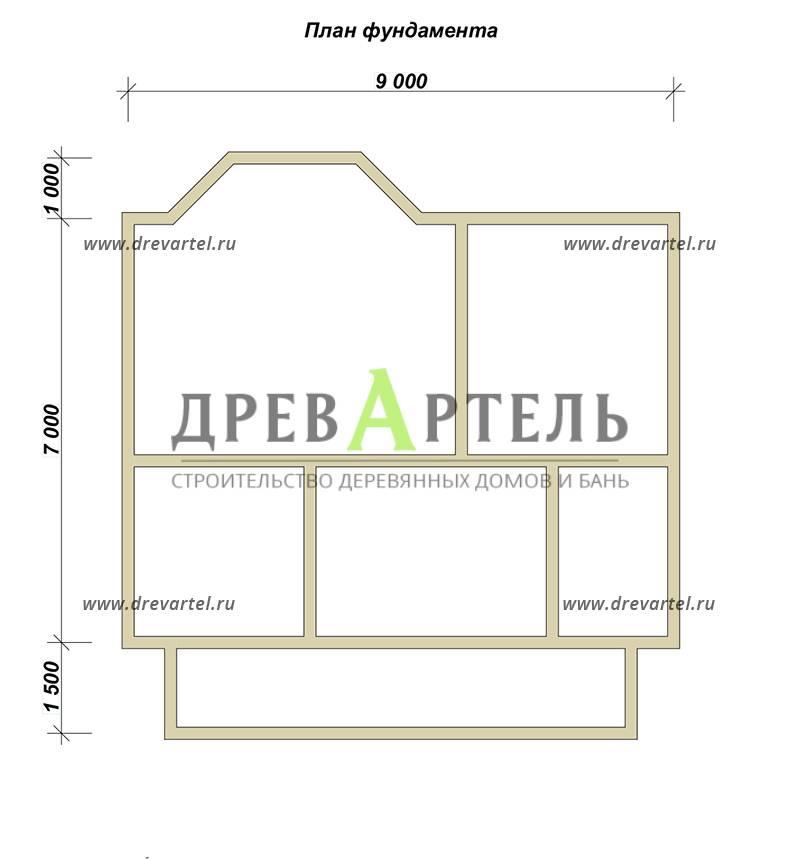 План ленточного фундамента - Дом из бруса 9х9 с эркером и кукушкой