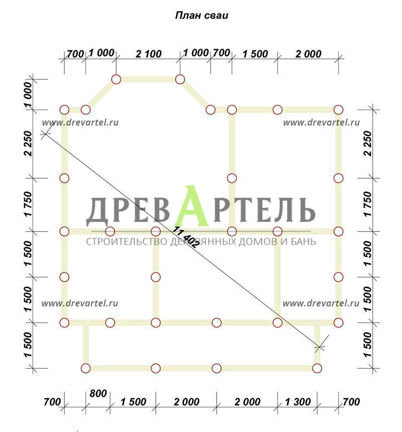 План свайного фундамента - Дом из бруса 9х9 с эркером и кукушкой