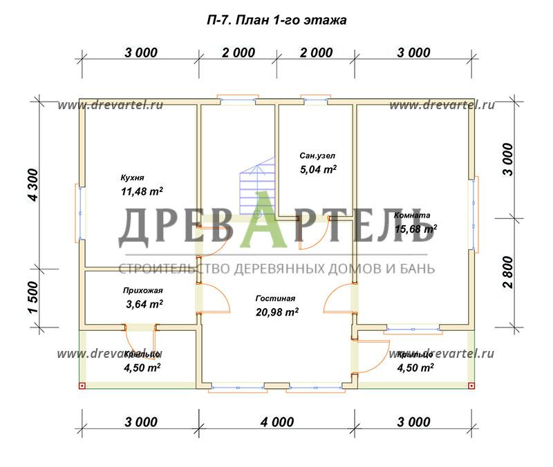 План 1-го этажа - Полутораэтажный дом из бруса 7х10