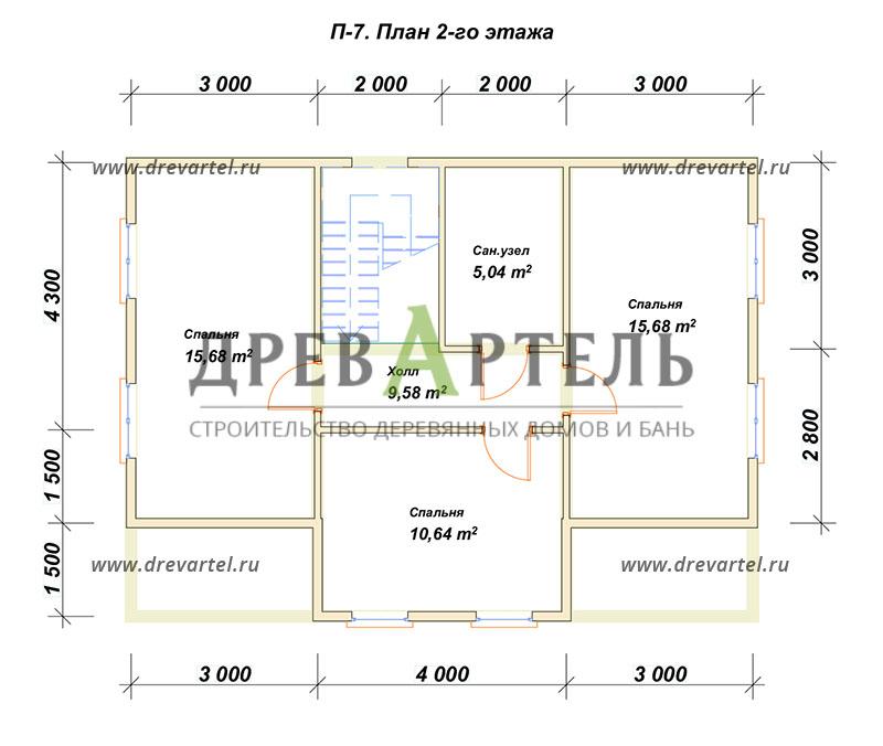 План 2-го этажа - Полутораэтажный дом из бруса 7х10