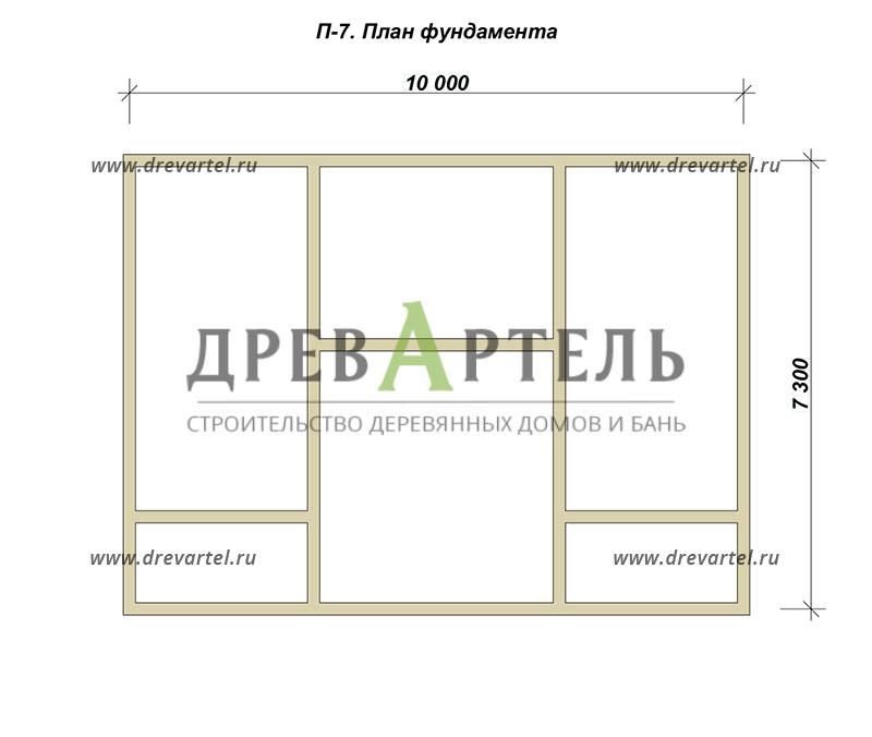 План ленточного фундамента - Полутораэтажный дом из бруса 7х10