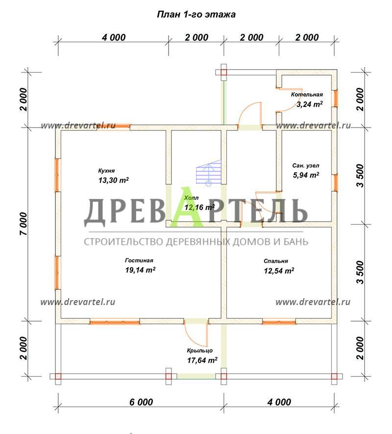 План 1-го этажа - Проект дома 10х11