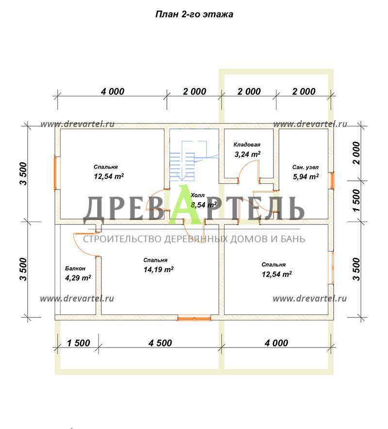 План 2-го этажа - Проект дома 10х11