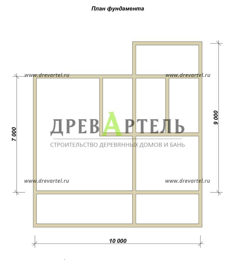 План ленточного фундамента - Проект дома 10х11