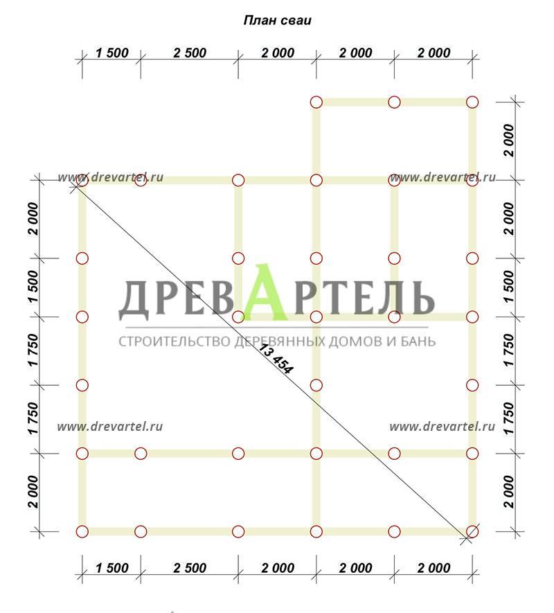План свайного фундамента - Проект дома 10х11