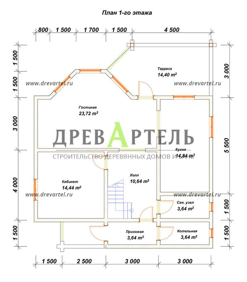 План 1-го этажа - Дом из бруса 10х11 с эркером