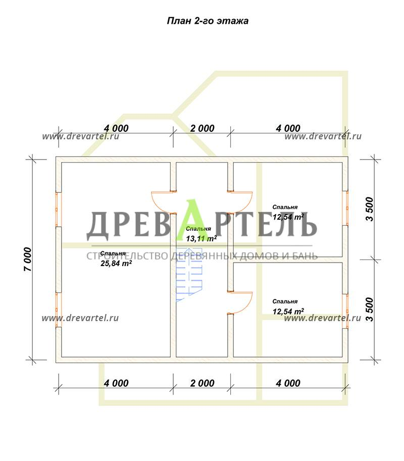 План 2-го этажа - Дом из бруса 10х11 с эркером