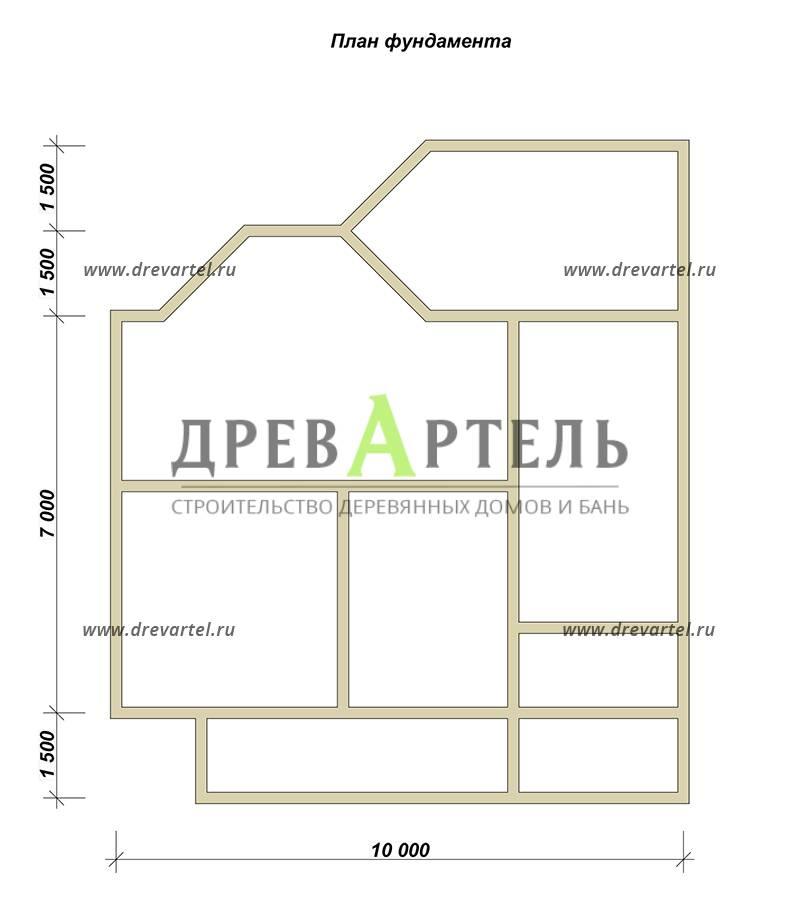 План ленточного фундамента - Дом из бруса 10х11 с эркером
