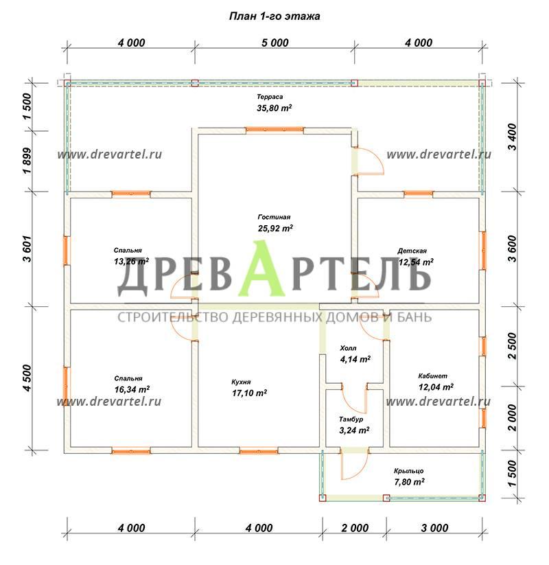 План 1-го этажа - Дом из бруса 8х13 с террасой