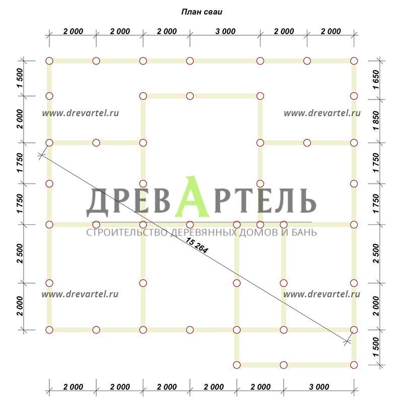 План свайного фундамента - Дом из бруса 8х13 с террасой