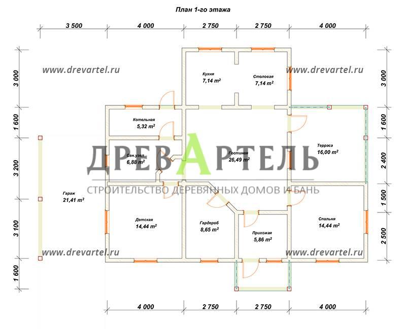 План 1-го этажа - Проект дома из бруса 8х13