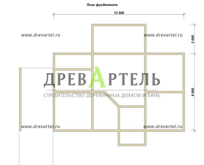 План ленточного фундамента - Проект дома из бруса 8х13