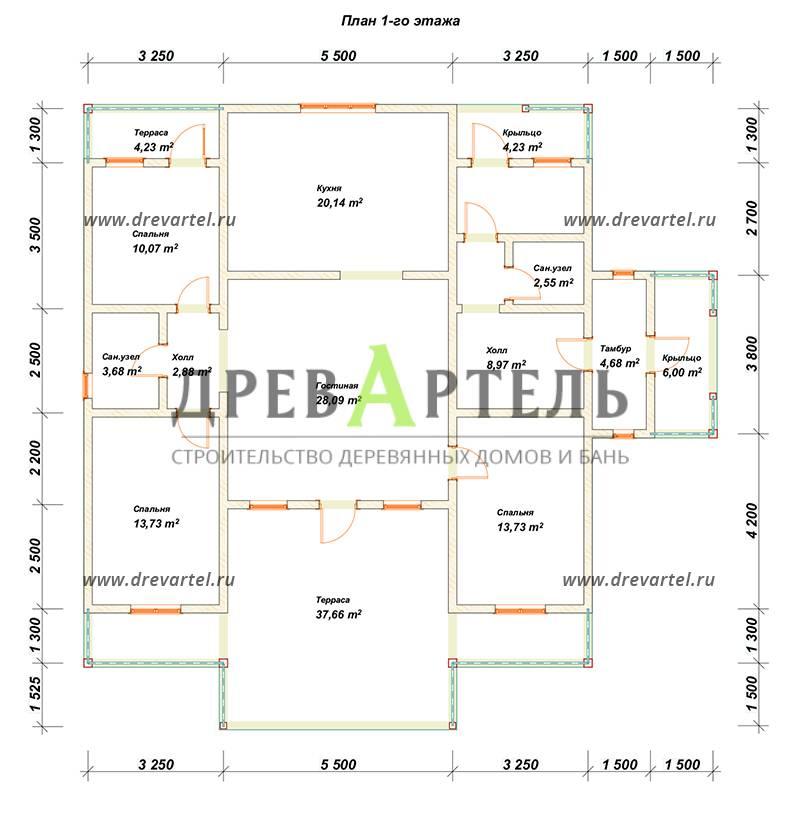 План 1-го этажа - Одноэтажный дом из бруса 12х12
