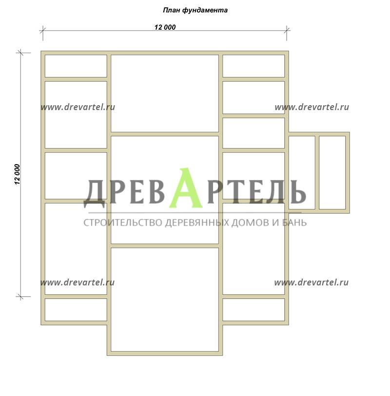 План ленточного фундамента - Одноэтажный дом из бруса 12х12