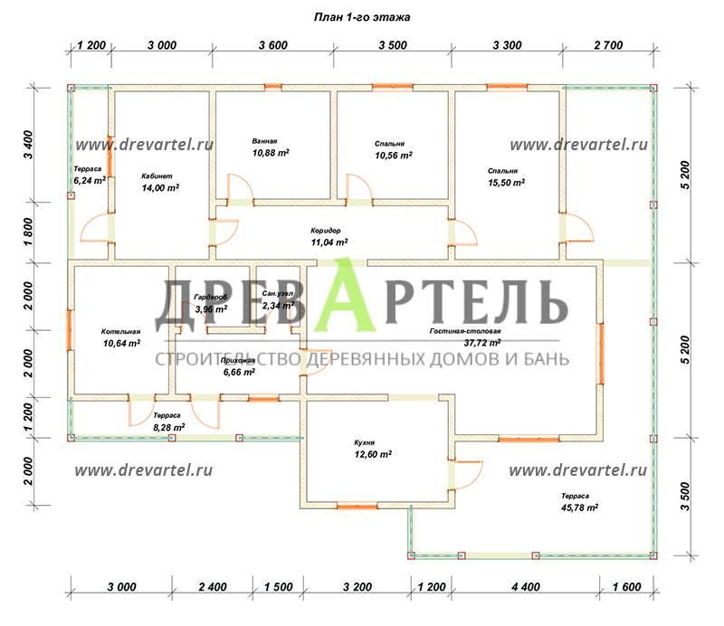 План 1-го этажа - Дом из бруса 10х15 с террасой