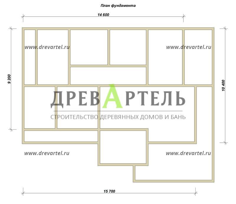 План ленточного фундамента - Дом из бруса 10х15 с террасой