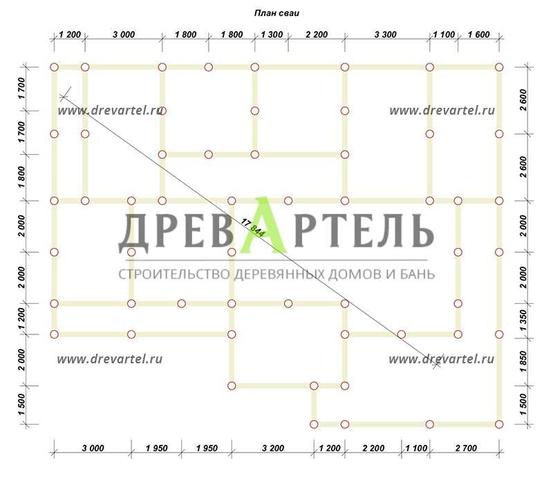 План свайного фундамента - Дом из бруса 10х15 с террасой