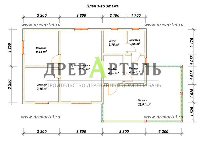 План 1-го этажа - Одноэтажный дом из бруса 6х11