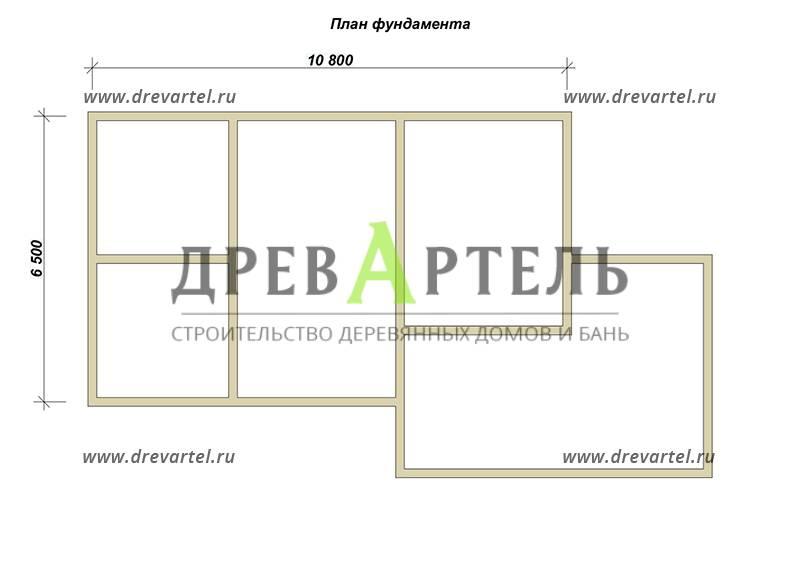 План ленточного фундамента - Одноэтажный дом из бруса 6х11