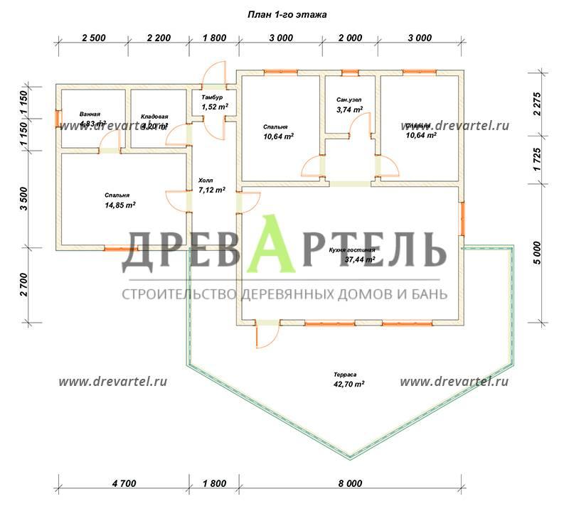 План 1-го этажа - Одноэтажный дом из бруса 9х14