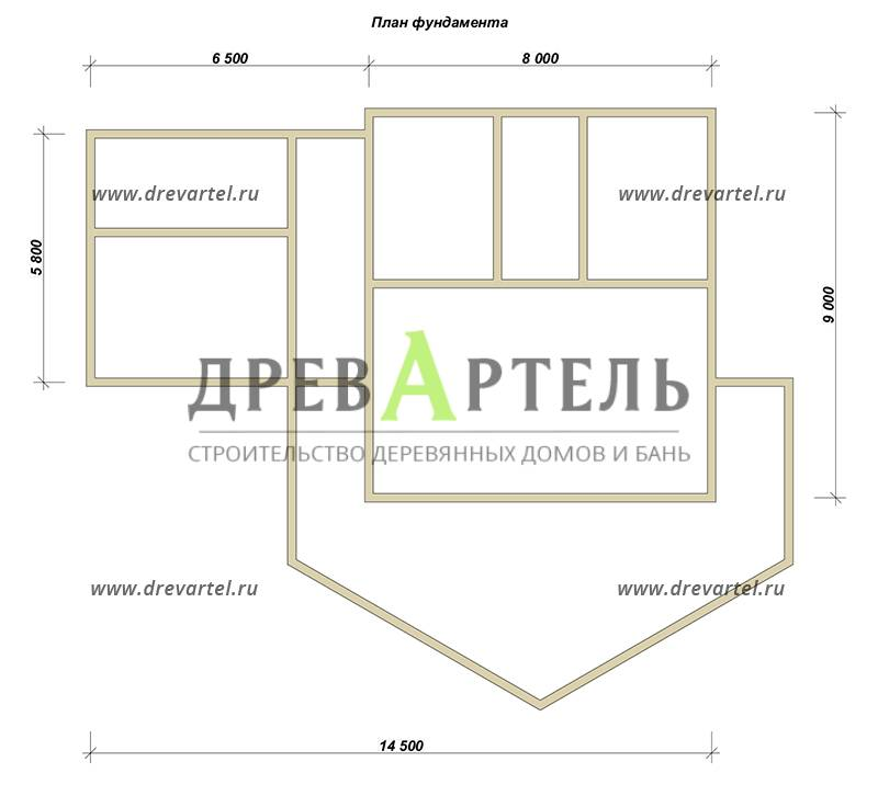 План ленточного фундамента - Одноэтажный дом из бруса 9х14