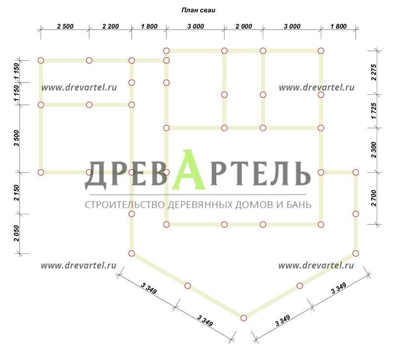 План свайного фундамента - Одноэтажный дом из бруса 9х14