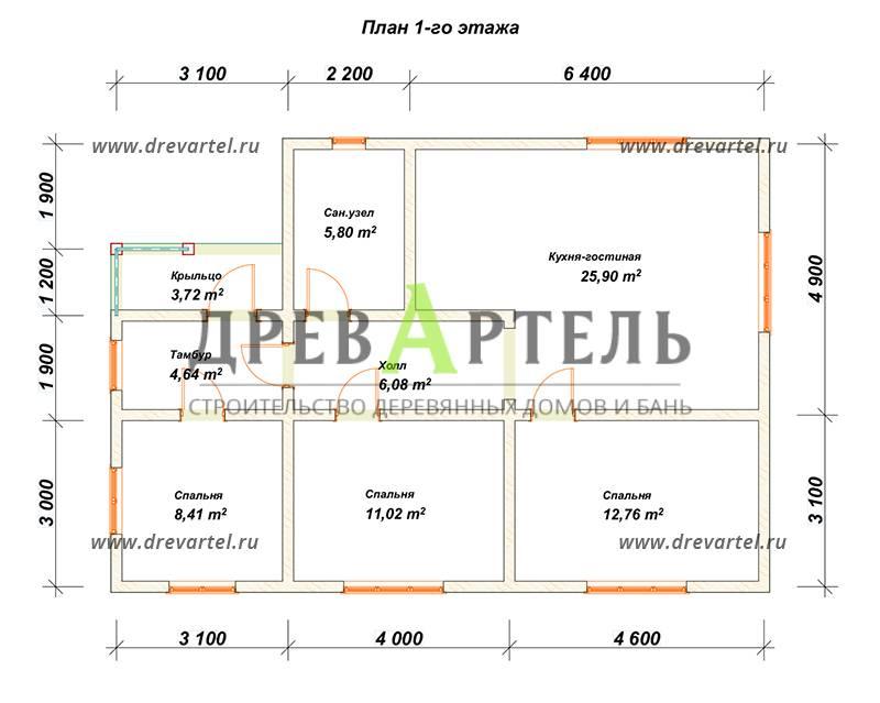 План 1-го этажа - Одноэтажный дом из бруса 8х12